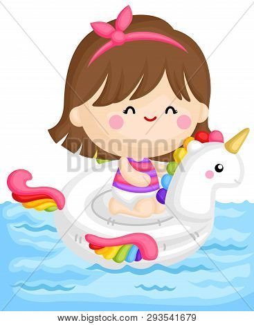 A Vector Of Cute Little Girl Sitting On Top Of Unicorn Float At The Pool