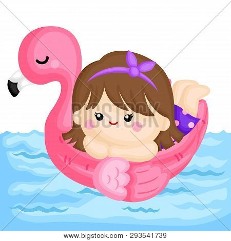 A Vector Of Cute Little Girl Relaxing On Top Of Pink Flamingo Float At The Pool