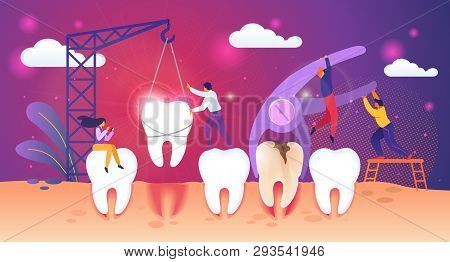 Unhealthy Tooth Removal Process. Guys Extract Dent With Caries Hole. Man Set Up Healthy Tooth In Gum