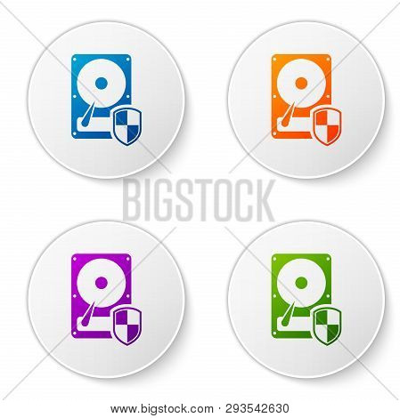 Color Hard disk drive HDD protection icon isolated on white background. Set color icon in circle buttons. Vector Illustration poster