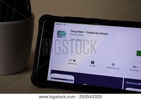 Bekasi, West Java, Indonesia. April 5, 2019 : Temp Mail - Temporary Email Dev Application On Smartph