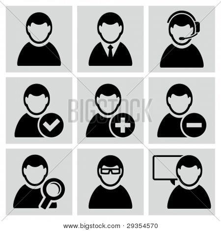Male user avatars icons set.
