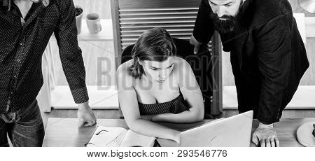 Sexy girl big boobs working in mostly male workplace. Desirable sexy lady boss. Woman sexy attractive female working with men colleagues. Busty colleague. Sexual attraction. Stimulate sexual desire poster