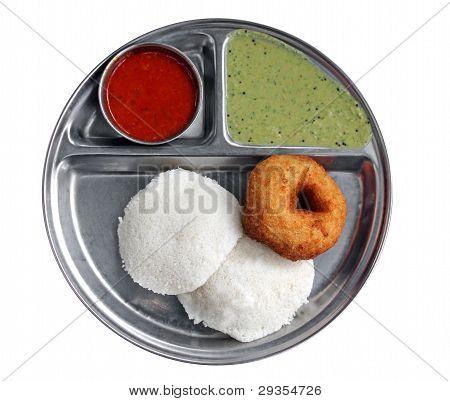 South Indian Breakfast - Idly Vada Sambar And Chutney