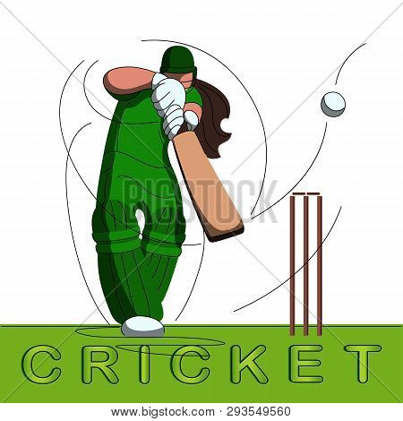 Batswoman Playing Cricket. Abstract Poster For Womens Cricket. Vector Illustration Of Female Cricket