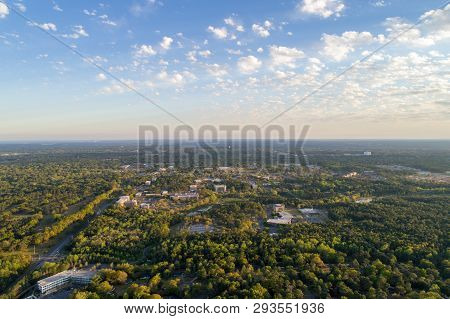 Aerial View Of The University Of South Alabama Near Downtown Mobile, Alabama