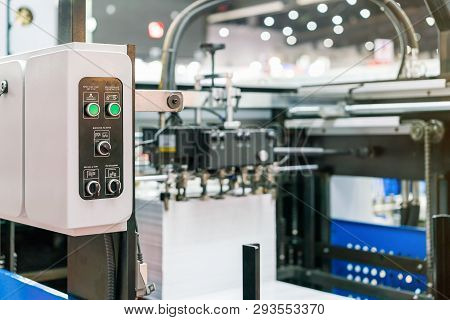 Close Up Switch And Push Button At Control Panel Of Modern And High Technology Of Automatic Publicat
