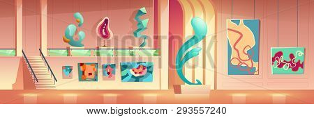 Contemporary Art Museum Or Gallery Exhibition Hall Interior With Abstract, Abstractionism Or Cubism