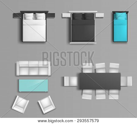 Sleeping Bed With Various Color Linens And Pillows, Soft Chairs And Dining Table Top View Realistic