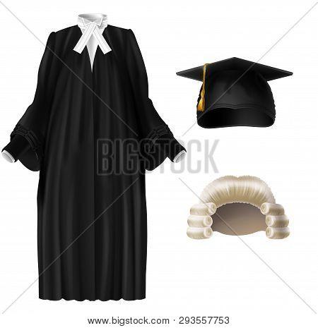Judge, University Professor, Student Graduation Ceremonial Clothing Realistic Vector Set Isolated On