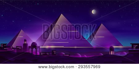 Giza Plateau Nigh Landscape With Egyptian Pharaohs Pyramids Complex Illuminated With Moonlight Neon