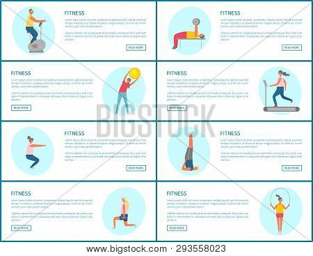 Fitness Webpage Set, Strong People Pumping Muscles And Lose Weight, Portrait View Of People Doing Ex