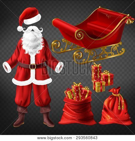 Santa Claus Costume With Leather Boots, Red Hat, False Beard, Sleigh And Christmas Stocking Sock, La