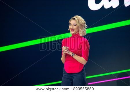 Moscow, Russia - March 13, 2019: Russian celebrity instagram blogger Anastasia Ivleeva performs at business conference