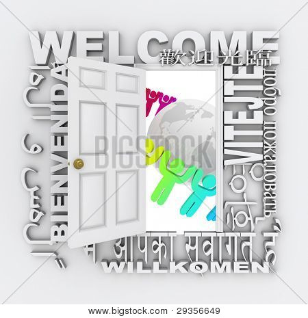 A door opens to show a world with diverse people around it, surrounded by the word Welcome in different international languages