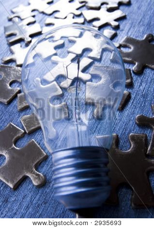 Light Bulb On Jigsaw