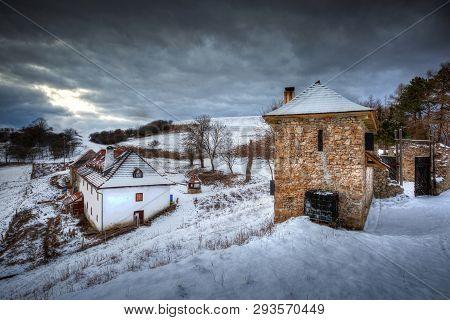 Buildings Of A Ruined Castle In Turiec Region In Slovakia.