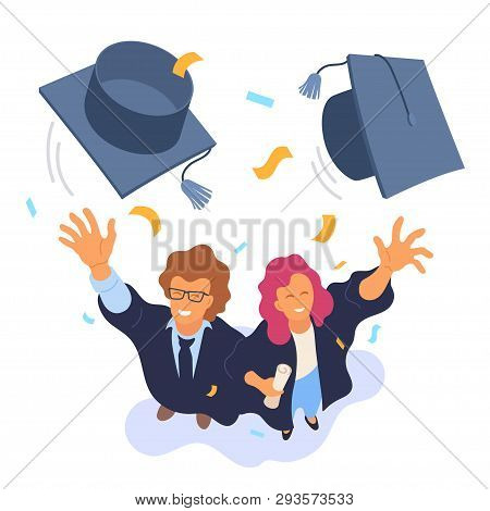 Two Happy College Graduates Throwing Academic Caps Vector Illustration. View From Above. Happy Gradu