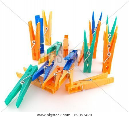 Color Clothes-pegs Over White