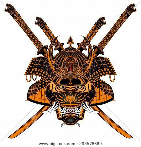 Vector Image Of A Tiger Of The Samurai. Katana. Helmet, Mask And Sword Japanese Soldier. Mythical Wa