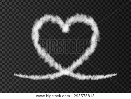 White Smoke  Plane  Heart Trail Isolated On Transparent Background.  Love. Steam  Effect.  Realistic