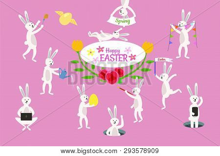Set Of Cute Easter Cartoon Rabbits And Design Elements. Easter Bunny, Eggs And Flowers. Vector Illus