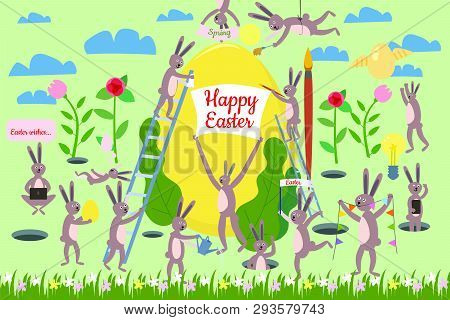 Set Of Cute Easter Cartoon Characters And Design Elements. Easter Bunny, Eggs And Flowers. Vector Il