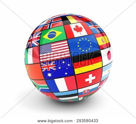 International Flags Globe. Business, Travel And Global Management Concept With International Country