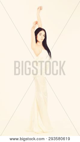 Bride, Girl In Graceful Dress. Fashion Wedding Concept. Woman In Elegant White Dress With Nude Back,