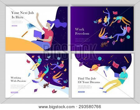 Job Presentation Banner Page Set. Inspired People Flying, Choose Career Or Interview A Candidate, Ag