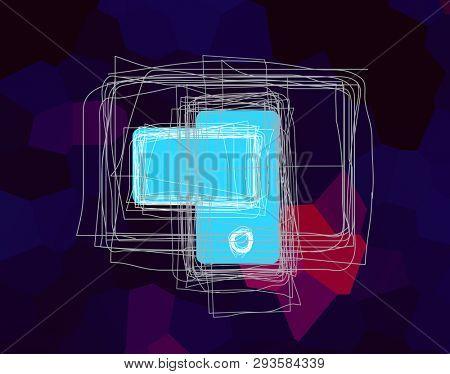 illustration of digital generation image with blue screen