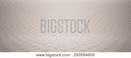 Quilted Fabric Surface. White Velvet And White Leather. Option 2