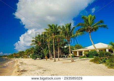 Little Cayman, Cayman Islands, Nov 2018, White Caribbean-style House On South Hole Sound