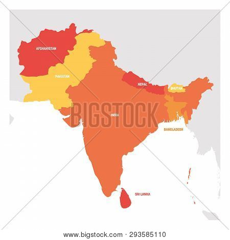 South Asia Region. Map Of Countries In Southern Asia. Vector Illustration