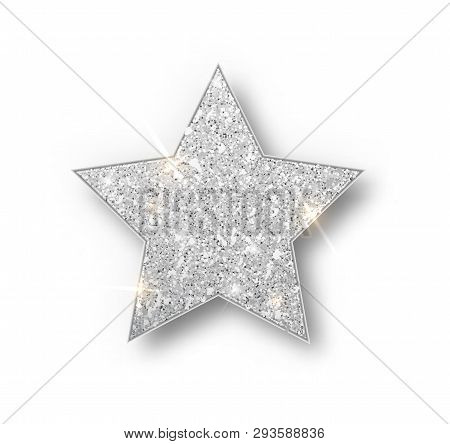 Silver Glitter Star Vector Isolated. Silver Sparkle Luxury Design Element Isolated. Icon Of Star Iso