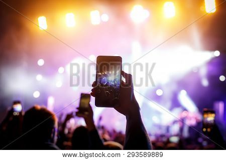 Hand With A Smartphone Records Live Music Festival, Live Concert, Live Concert
