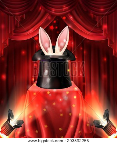 Illusionist Performance, Magical Tricks With Animals Realistic Vector Concept. Hare Or Rabbit Ears S