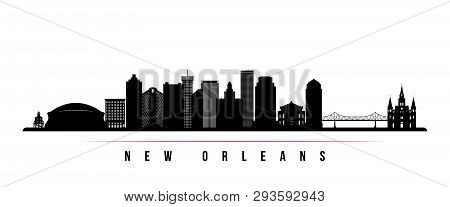 New Orleans City Skyline Horizontal Banner. Black And White Silhouette Of New Orleans City, Usa. Vec