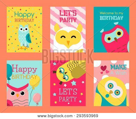 Owl Set Of Birthday Cards Vector Illustration. Welcome To My Birthday. Make A Wish. Cute Cartoon Wis