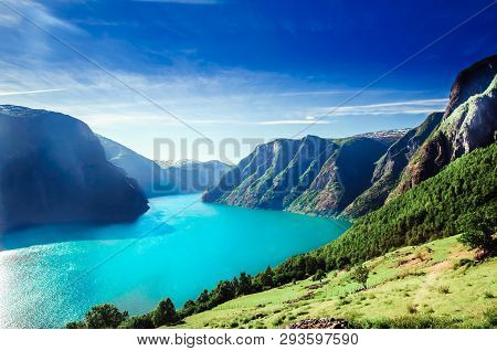 View On Norway Fiord Landscape - Aurlandsfjord, Part Of Sognefjord