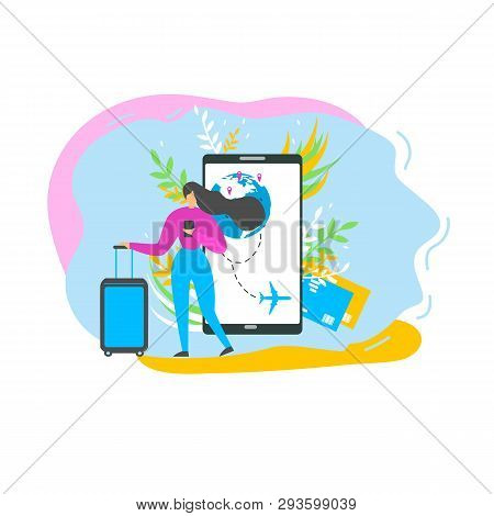 Vacation Travel Flat Vector Concept Isolated On White Background. Traveling Woman Searching Flight S