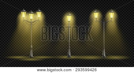 Vintage Street Lights Glowing With Yellow Light 3d Realistic Vector Set Isolated On Transparent Back