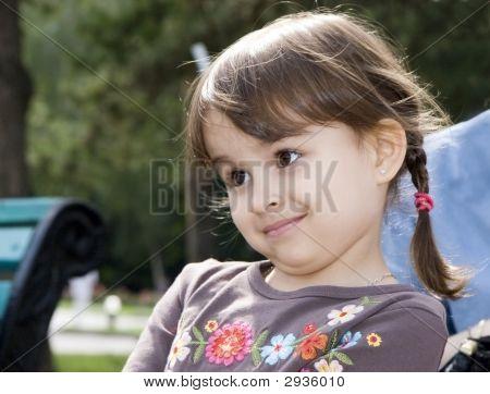 Beautifull  Little 3-4 Years Old Girl Summer Outdoors