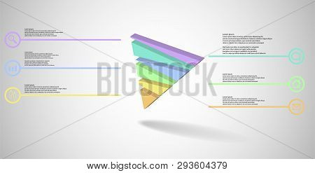 3D Illustration Infographic Template With Embossed Triangle Randomly Divided To Six Parts