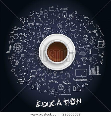 Hand Drawn Design Vector Illustration, Set Of Education, Education Process, Learning In Educational