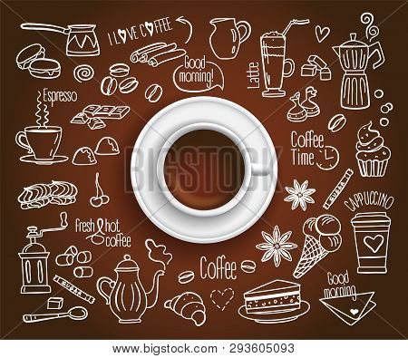 Hand Drawn Design Vector Illustration, Coffee Cup With Set Of Coffee Drink Icons In Doodle Style, Fo