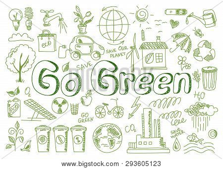 Hand Drawn Design Vector Illustration, Set Of Go Green Icons, In Doodle Style, For Graphic And Web D