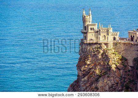 Castle Of Swallow`s Nest In Black Sea, Crimea, Russia. It Is A Famous Tourist Attraction Of Crimea.