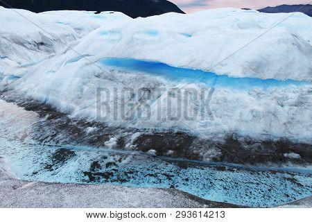 Perito Moreno Glacier`s Different Textures And Colors, Patagonia Argentina. The Perito Moreno Countl