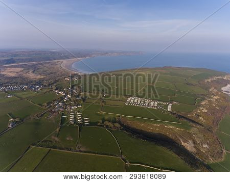Editorial Swansea, Uk - March 31, 2019: Aerial View Of The Gower Peninsula Over Oxwich Green, Slade